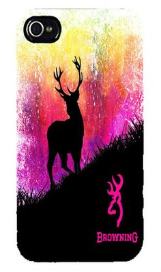 Country Girl Buck Silhouette iPhone 4 / 4S or iPhone 5 Case Pink Orange Girly