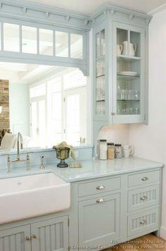 greyish blue kitchen cabinets