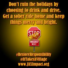 Don't ruin the holidays by choosing to drink and drive. Get a sober ride home and keep things merry and bright. #DriveSober or Get Pulled Over #RestoreResponsibility #2015Christmas