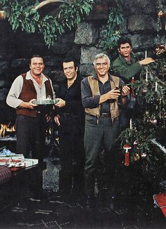 A Bonanza Christmas scene.  This was the cover art for the album Christmas at the Ponderosa.
