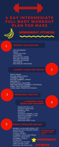4 Day Intermediate Full Body Workout Plan for Mass #bodybuilding #fitness #gym #intermediate #mass #workoutplan #workoutroutine #life #health #lifestyle #fit #fitness #beast #beastmode #training #life #lifestyle #infographic #men #Projet
