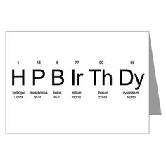 Periodic Table Birthday Card on CafePress.com