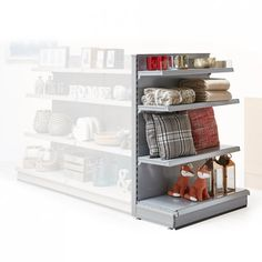 Silver Retail Shelving Gondola End Bay Unit - H1400 x W1000 mm, Plain Back Panels
