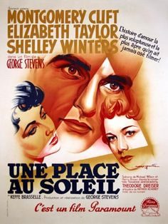 """Roger Soubie, French Poster for """"A Place in the Sun,"""" 1951"""