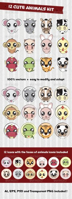 12 Cute Animals Set  #GraphicRiver         This cute animals set contains:   12 cute animal characters that includes a rat, cow, tiger, rabbit, dragon, snake, horse, goat, monkey, chicken, dog and pig. These cute animals are 100% vectors, easy to modify and adapt in anyway you want, includes 12 icons with the faces of animals to use in any of your project.   Transparent PNG included