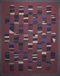 "Amish string rectangles. Measures 68"" x 86"". Maryland origin; circa 1920."