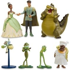 Disney The Princess and the Frog Figurine Play Set -- 7-Pc. by Disney. $16.39. Back of package folds down to create a play scene backdrop, fastens back again with self-stick fabric closure. For age 3. Includes Princess Tiana, Prince Naveen, Tiana as Frog, Naveen as Frog, Louis, Ray and Mama Odie. Plastic/PVC and Figures up to 4'' H. Give the day a kiss of fun with The Princess and the Frog Figurine Play Set. This Disney Princess play set comes with everything you ne...