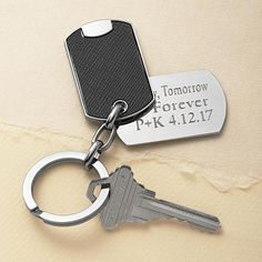 They'll never forget their keys—or that special date—with our stylish stainless steel key chain.