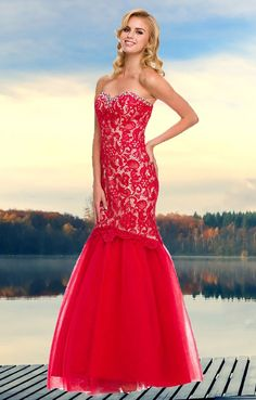 This is a romantic formal prom dress featuring sweetheart neckline decorated with sparkling stones, fitted bodice with lace up back, made with a beautiful lace and a gathered trumpet tulle skirt.   Colors Available: Red/Nude, Black/Nude, Bashful Pink/Nude Sizes: xs-2xl Usually ship within 2-3 working days. We ship worldwide. Lowest price guarantee! Compare prices! #lacepromdress #promdresses #eveningdress #glamourforless #couture #fashion #mermaidstyle