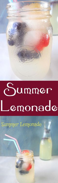 Let's make lemonade! A homemade lemonade recipe that include fresh fruits. The ice cubes are made with fresh fruits.  Perfect July 4th Picnic recipes and all summer. Summer Lemonade