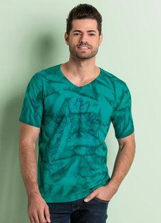 Camiseta Estampada Manga Curta Turquesa - Queima de Estoque 05103f2dbc705
