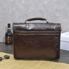 b3e1421e2 vintage aktovku muže kožené rameno taška hasp Školní vysoce kvalitní  notebook Cestovní taška 14 palců Messenger Tašky