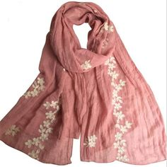 2017 Japan High Quality Women Scarf Cotton Embroidered Long Shawls Solid Warm Scarves Spring Autumn Scarf Shawl Free Shipping #Affiliate