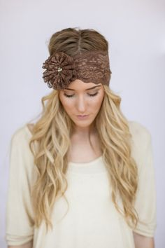 Mocha Brown Wide Stretchy Lace Headband with Flower Bohemian Headband Stretchy Wide Lace Headband for Women (HB-71)