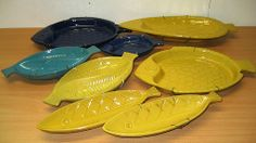 Fish plate collection, yellow and blue, JIE Gantofta