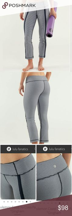"Lululemon Coast to Class Work Out Pant Pre loved but kept in excellent condition!  Why we made this  Life is a roller coaster. Getting to and through your yoga class doesn't have to be. We designed these no-fuss, 3/4 length pants to coast in and out of Half Moon pose in four-way stretch, breathable luon fabric.    Tech specs designed for: yogafabric(s): luon properties: moisture wicking, breathable, four-way stretch,preshrunk.  rise: medium leg fit: straigh Inseam is aprox 26"" inches…"