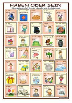 Konjugation - haben oder sein * mit 35 Bildern und Sätzen * mit Lösung