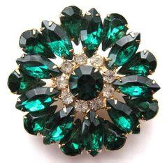Vintage Brooch Pin Green Glass Clear Rhinestone Gold tone Jewelry lot a