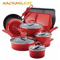 Rachael Ray Cookware Giveaway (Ends 7/28) Enamel Cookware, Cast Iron Cookware, Rachael Ray Cookware Set, Burnt Food, Best Pans, Pots And Pans Sets, Kitchen Sets, Red Kitchen, Kitchen Stuff