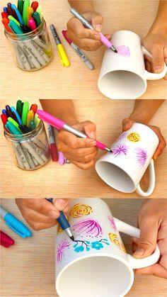 Flower DIY Sharpie Mug {Anthropologie Style!} Watercolor Flower DIY Sharpie Mug {Anthropologie Style!} - A Piece Of RainbowWatercolor Flower DIY Sharpie Mug {Anthropologie Style!} - A Piece Of Rainbow Mug Crafts, Sharpie Crafts, Diy Sharpie Mug, Sharpie Projects, Sharpies On Mugs, Sharpie Mug Designs, Sharpie Plates, Sharpie Doodles, Mason Jar Crafts