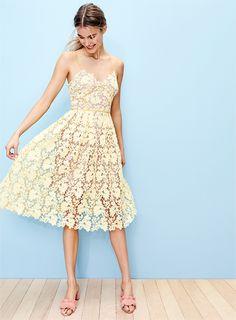 Donna Morgan Chemical Lace Spaghetti Strap Midi Dress $148