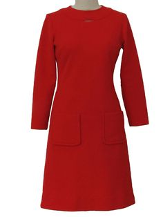 cool red 60's dress, i like the little keyhole neckline, and the pockets!
