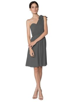 Gray One Shoulder Knee Length Chiffon A-line Ruched Sleeveless Bridesmaid / Wedding Dresses