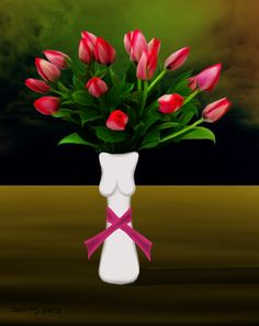 This is about breast cancer, the vase being a woman's figure, and the ribbon of cancer under her breasts, flowers being a gift for sympathy.