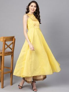 Yellow and golden checked Anarkali kurta with gota patti detail, has a round neck, sleeveless, flared hem