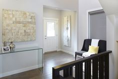 Foyer / entry in the Tofino II showhome in Hillcrest in Airdrie by Shane Homes.