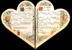 Libro corazón ❤ ❤ ❤ El Cancionero Cordiforme o de Jean de Montchenu es un curioso libro con forma de corazón del siglo XV que contiene canciones de amor.