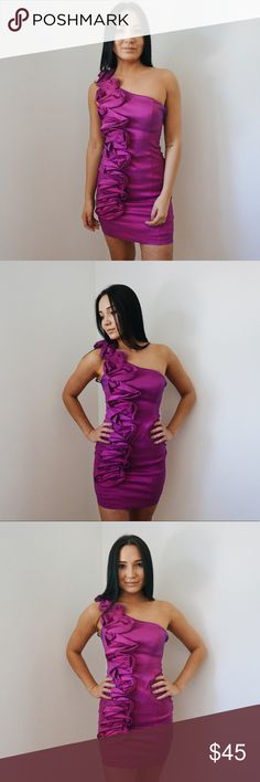 Purple Cocktail Dress Super cute and super comfortable dress! Very form fitting! Last photo is true to color Lord & Taylor Dresses One Shoulder