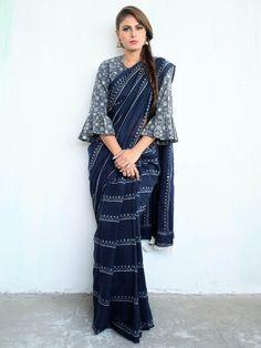 Blue Cotton Mul Hand Block Printed Saree