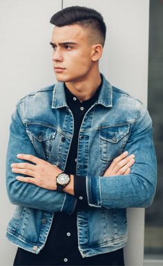 Denim jacket outfit for men. Light style covering dark dress shirt and minimalist watch. Check out more men's outfits here.