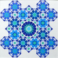 'Blues' - Painting by Ton Ensink 40 x 40 cm , Acrylic paint on canvasboard. Islamic Art Pattern, Arabic Pattern, Pattern Art, Turkish Pattern, Moroccan Pattern, Sacred Geometry Patterns, Islamic Tiles, Mughal Paintings, Arabesque Pattern