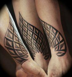 Abstract, black and white, geometric, tribal, forearm tattoo on TattooChief.com