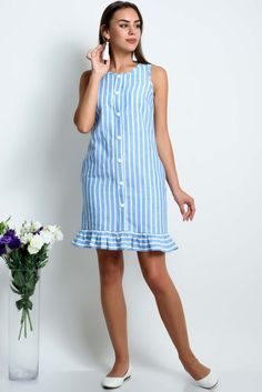 Linen dress/ Striped linen dress / Linen dress with pockets/ Summer linen dress – Linen Dresses Elegant Summer Dresses, Simple Dresses, Casual Dresses, Fashion Dresses, Short Dresses, Dress Summer, Linen Shirt Dress, Linen Dresses, Striped Linen