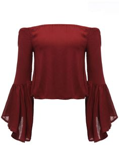 Sexy Women Solid Off Shoulder Flare Sleeve Short T-Shirt