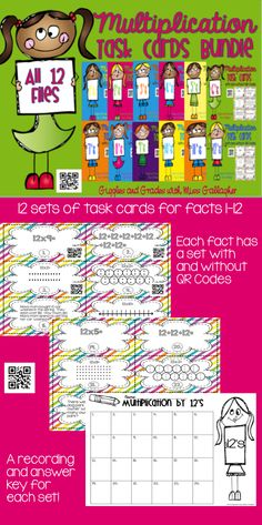 Multiplication 1-12's Task Cards BUNDLE 4th Grade Math, Grade 3, Third Grade, Elementary Science, Elementary Schools, Math Activities, Teacher Resources, Math Task Cards, Times Tables