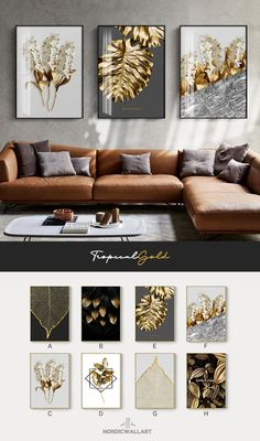 Abstract Tropical Gold Wall Art Nordic Style Golden Botanic Floral Fin – NordicWallArt.com Office Wall Art, Office Walls, Home Office Decor, Gold Wall Art, Tropical Home Decor, Living Room Decor, Nordic Living Room, Living Room Canvas, Dining Room