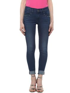 Studded Turn-Up Blue Skinny Jeans Blue Skinny Jeans, Jeans Fit, Fitness, Pants, Fashion, Gymnastics, Moda, Trousers, Women Pants