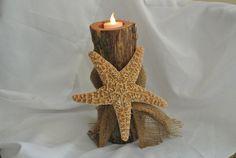 Beach Wedding Centerpiece, Log Candle Holder, Sugar Starfish Decor, Seaside Party Decor on Etsy, $35.00
