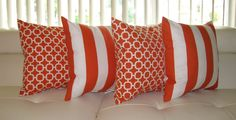 Orange & White Outdoor Throw Pillow  - 4 Pack Outdoor Decorative SMC / Mill Creek Throw Pillows Finnigan and  Hockley. $59.99, via Etsy.