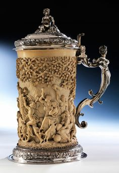 Beer Stein, Sculpture Art, Amazing, Brewing, Alcoholic Drinks, Ivory, Beautiful, Antiques, Tableware