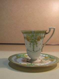 Antique-Royal-Worcester-Porcelain-Hand-Painted-Cup-amp-Saucer-England-Marked