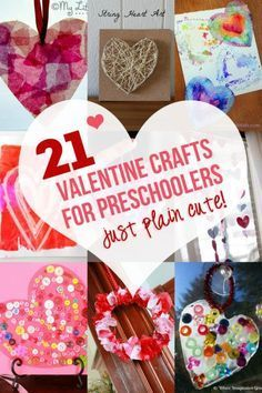 21 Valentine crafts for preschoolers to make that are just plain cute and fun to make. Too stinkin' cute!