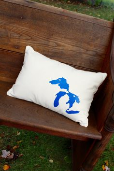 Great Lakes Pillow - Farmhouse style collection- Home Decor- Michigan by reprizedesigns on Etsy