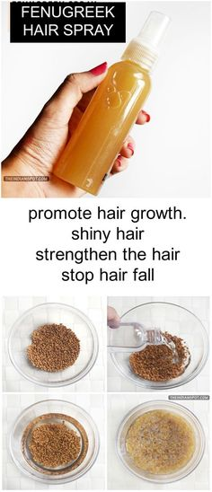 BENEFITS: Fenugreek seeds are rich in hormones that promote hair growth. Fenugreek seeds are a good source of protein and also nicotinic acid that helps strengthen the hair shaft and prevent breakage. Fenugreek makes a healthy coating on the hair that pro Belleza Diy, Tips Belleza, Natural Hair Care, Natural Hair Styles, Organic Hair Care, Organic Shampoo, Cheveux Ternes, Beauty Hacks For Teens, Dull Hair
