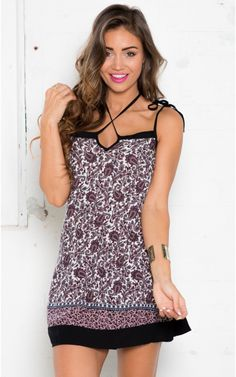She's Cross dress in black print $57. Why settle for boring old single spaghetti straps when you can play around two necklines? This sexy relaxed dress features a mixture of two classic strap style creating beautiful lines. www.showpo.com #iloveshowpo #showpo