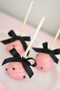 Pink Cake Pops! Sweet and Chic Bow Themed Valentine's Day Party with Lots of Cute Ideas via Kara's Party Ideas KarasPartyIdeas.com #pinkbowparty #valentines...
